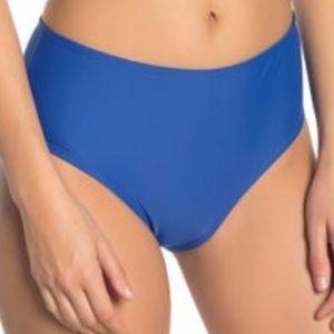 NWT Nicole Miller Blue High Waist Bikini Bottom 12